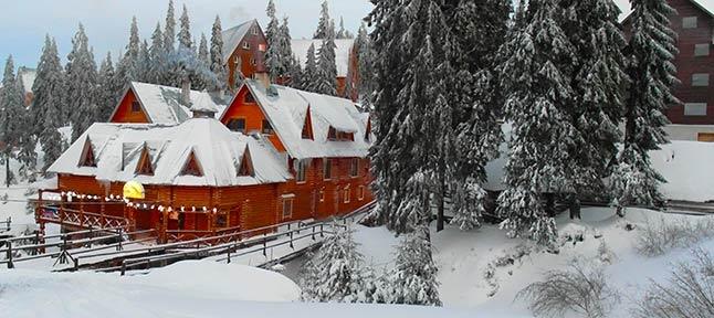 White mountains, blue sky. Winter High Carpathians