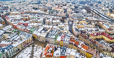depositphotos 188135316 stock photo lublin bird eye view winter