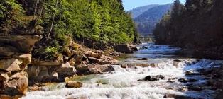 Carpathian blues. Waterfalls of the Carpathians